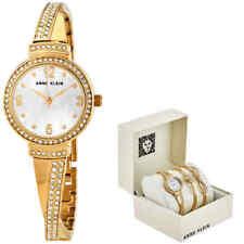 Anne Klein Quartz Crystal White MOP Dial Ladies Watch and Bracelet Set