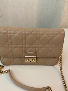 CHRISTIAN DIOR Beige Leather Quilted Miss Dior Promenade Clutch Bag
