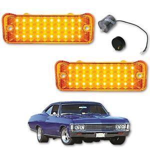1966 66 Chevy Impala LED Park Light Turn Signal Lamp Lens Lenses w/ Flasher Pair