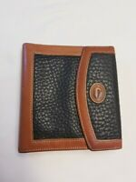 VTG DOONEY & BOURKE Pebbled Black Leather Wallet  Org/Coin Purse Lock Kiss Clasp