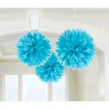 3 Caribbean Blue Engagement Party Hanging Fluffy Tissue Paper Ball Decorations