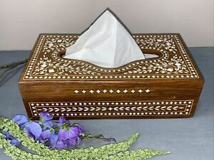 Vintage Art Deco Tissue Box Inlayed Design Hinged Wooden Solid Made Well