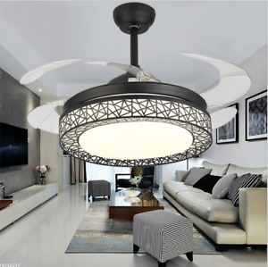 """42"""" Retractable 4Blades Ceiling Fan Lamp Remote Control LED Dimmable Chandelier"""
