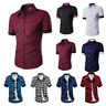 Mens Luxury Casual Formal T Shirt Short Sleeve Slim Fit Dress Shirts Office Tops