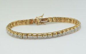 14K Yellow Gold Plated Diamond Tennis Bracelet