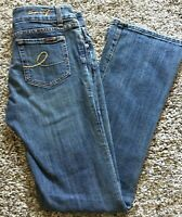 "Womens SEVEN 7 Jeans Boot Stretch size 27 x 33.5"" Medium Blue Loop Button"