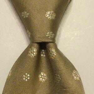 ERMENEGILDO ZEGNA Men's 100% Silk Necktie ITALY Luxury FLORAL Beige/White GUC