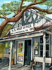 """Water Color Print of Lynn Wilkerson's """"Where Everyone is Someone""""-Luckenbach, TX"""