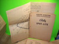 Bally SPOT LITE 1951 Original Bingo Pinball Machine Operating Manual + Schematic
