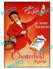 OLD LARGE HISTORIC ADVERTISING POSTER, CHESTERFIELD CIGARETTES, HUNTING c1940