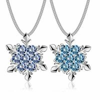 Jewelry Fashion Silver Chain Crystal Snowflake Pendant Christmas Necklace