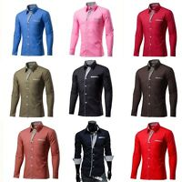 Hot Mens Casual Shirts Business Dress T-shirt Long Sleeve Slim Fit Shirt Tops