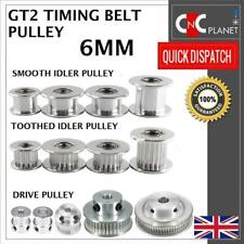 GT2 6mm Timing Belt Smooth Tooth Idler Drive Pulley 16 20 30 36 40 60 Bore 3 5 8