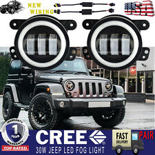 2x 4inch White Halo LED Fog Lights For 07-17 Jeep Wrangler JK Front Bumper Lamp