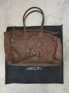 Marc Cain Ladies Brown Soft Leather Crocodile Shoulder Bag Handbag Shopper