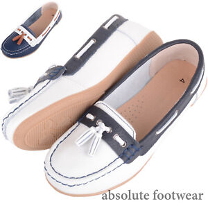 Ladies / Womens Slip On Casual Leather Boat Deck Shoes Contrast Trim and Tassle