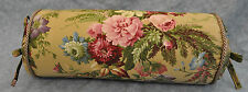 Corded Bolster Neck Pillow made w Ralph Lauren Adriana Floral on Brown Fabric