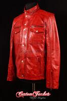 Men's BANDIT VINTAGE RED Safari Western Cowboy Biker Leather Shirt Jacket