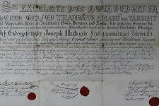 Jäger Gesellenbrief von 1840 THADDAUS AMADE VON VARKONY, Östereich,