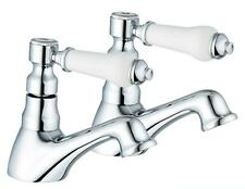 Hot & Cold Bath Taps New Item 1/4 Turn Antique Style Chrome Bathroom (Swan 3)