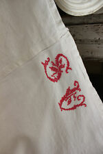 Antique French linen sheet SV monogram red crosstitch sheet 77 X 125 LONG