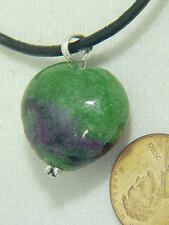 BUTW ruby in zoisite sterling  wire wrapped lapidary puff heart pendant 4708B