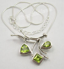 """.925 Sterling Silver Beautiful GREEN PERIDOT HANDCRAFTED Necklace 18.5"""""""