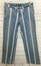 Diesel Style Lab Made in Italy Blue Whitewash Striped Denim Jeans Womens Size 28