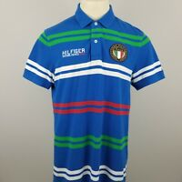 TOMMY HILFIGER Men's L Custom Fit Polo Italy Italia Embroidered Patch Spell Out