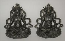 Kubera, The God Who Gives Money Tibetan Buddhist Deity, Pair of Bronze Book Ends