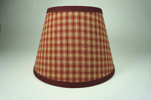 Country Primitive Burgundy Red Small Plaid Homespun Fabric Lampshade Lamp Shade