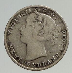 1896 CANADA NEWFOUNDLAND UK Queen VICTORIA Antique Silver 20 Cents Coin i93301