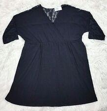New Torrid Black Lace Shoulder Back Yoke Stretch Surplus Dress, Pockets 4X Tunic