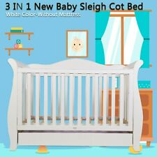 3 in1 New Zealand White Pine Royal sleigh Baby Cot crib Toddler Bed with Drawer