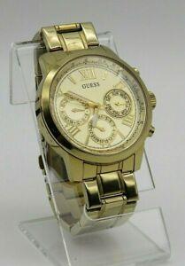 GUESS Gold Tone Quartz Watch Multi-Dial Date/Day U0330L1 Gold Tone Bracelet Band