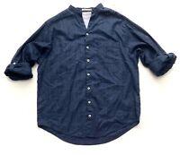 Nwt Caribbean Blue Linen Blend Tonal Stripe Long Sleeve Mandarin Collar Shirt