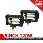 Pair 5inch LED Work Light Bar Auxiliary Flood Beam UTV ATV Offroad Driving Lamp