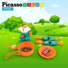 PicassoTiles PTC07 7 Piece Imagination Play Toy Camping Gear Tool for Children