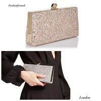 Jimmy Choo Celeste Pink Glitter Clutch With Chain
