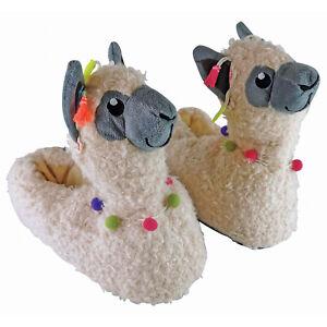 3D Womens Slip On Novelty Cream Llama Slippers with Plush Inner for Indoor