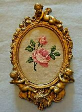 Vintage Framed Miniature Silk Needlepoint Tapestry of a  Rose