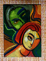 ACEO original pastel painting outsider folk art brut #010318 abstract surreal