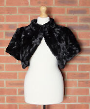 Coast Black Faux Fur Cropped Jacket Bolero Shrug Size Large
