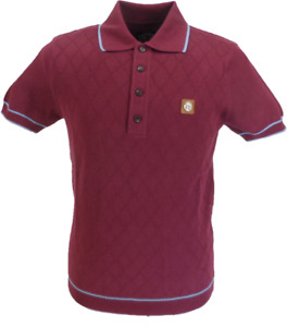 Trojan Records Mens Port/Sky Diamond Fine Gauge Knitted Polo Shirt