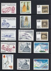 Greenland 2001 Year set incl S/S; Royalty viking birds Two scans MNH