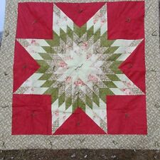 "Hand made and Machine Stitched Red and Green Lap Quilt 46"" x 46"""