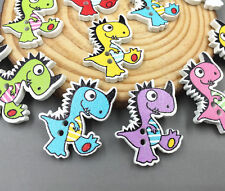 50pcs Cartoon Wooden dinosaur Buttons Sewing crafts decoration 27mm