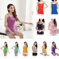 Women Multicolor Slim Fit Strappy Vest Tank Tops Sleeveless Solid Basic Tees