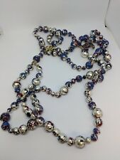 """Splatter Paint Pearl Necklace 40"""" Long Chanel Fall 2013 Collection Triple Strand"""