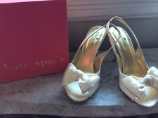 Kate Spade white satin slingbacks with bow, size 6.5